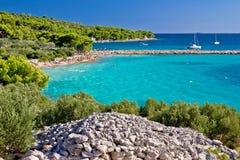 Spiaggia della laguna del turchese di Murter dell'isola Fotografie Stock