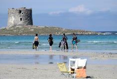Spiaggia della Pelosetta i Sardinia arkivbild
