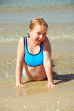 Spiaggia della ragazza Immagini Stock