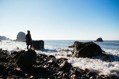 Spiaggia della roccia di miglio fotografia stock libera da diritti