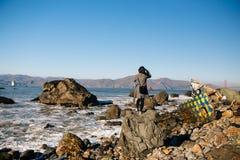 Spiaggia della roccia di miglio Immagini Stock