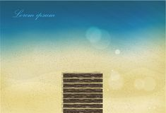 Spiaggia della sabbia di mare di Sun con abbagliamento Immagini Stock Libere da Diritti