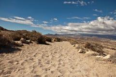 Spiaggia della sabbia di paesaggio Immagini Stock Libere da Diritti