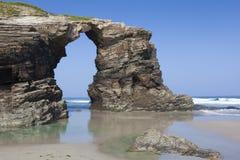 Spiaggia delle cattedrali, Ribadeo fotografia stock