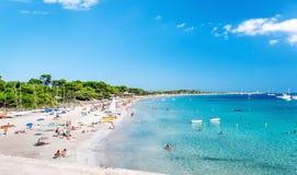 Spiaggia delle saline di Las ibiza immagini stock