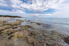 Spiaggia delle saline in Ibiza Immagine Stock
