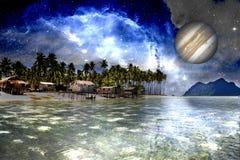 Spiaggia dello spazio intergalattico Immagini Stock