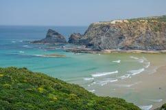 Spiaggia di Adegas della Praia vicino a Odeceixe, Portogallo Fotografia Stock
