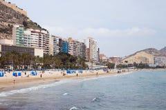 Spiaggia di Alicante Immagini Stock