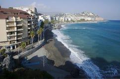 Spiaggia di Almunecar, Spagna Fotografia Stock Libera da Diritti