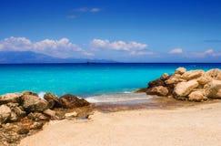 Spiaggia di Alykes sull'isola di Zacinto Fotografie Stock Libere da Diritti