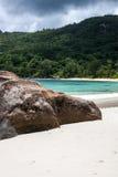 Spiaggia di Anse Takamaka in Seychelles Fotografia Stock Libera da Diritti