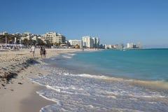 Spiaggia di area dell'hotel di Cancun Fotografia Stock