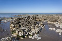 Spiaggia di Ault, Somme, Hauts-de-Francia immagine stock libera da diritti