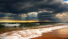spiaggia di autunno Costa di Mar Nero, Crimea Immagini Stock Libere da Diritti