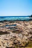 Spiaggia di Balos Vista dall'isola di Gramvousa, Creta in acque del turchese di Greece Il turchese magico innaffia, lagune, spiag Immagine Stock Libera da Diritti