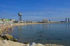 Spiaggia di Barceloneta Fotografia Stock