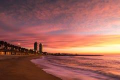 Spiaggia di Barceloneta a Barcellona Fotografia Stock