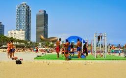 Spiaggia di Barceloneta a Barcellona, Spagna Immagini Stock Libere da Diritti