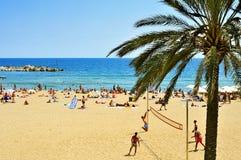Spiaggia di Barceloneta della La, a Barcellona, la Spagna Immagini Stock