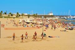 Spiaggia di Barceloneta-Somorrostro a Barcellona, Spagna Fotografia Stock Libera da Diritti