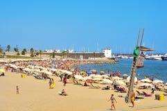 Spiaggia di Barceloneta-Somorrostro a Barcellona, Spagna Fotografie Stock Libere da Diritti