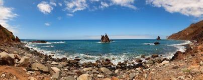 Spiaggia di Benijo sulla costa del nord dell'isola di Tenerife Fotografia Stock Libera da Diritti