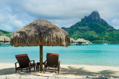 Spiaggia di Bora Bora Fotografie Stock Libere da Diritti