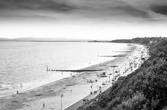 Spiaggia di Bournemouth in bianco e nero Fotografie Stock Libere da Diritti