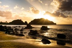 Spiaggia di cachorro di tramonto immagine stock