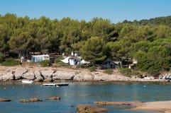 Spiaggia di campeggio in Corsica, Francia Fotografie Stock Libere da Diritti