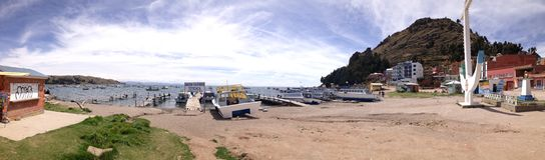Spiaggia di Copacabana, lago di titicaca Fotografia Stock