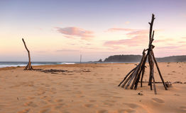 Spiaggia di Cuttagee al crepuscolo Immagini Stock