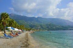 Spiaggia di Dassia, Corfù Grecia Immagini Stock Libere da Diritti