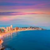 Spiaggia di de Levante di playa di Alicante di tramonto di Benidorm fotografie stock libere da diritti