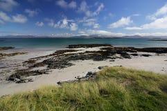 Spiaggia di divieto di Rubha, isola di Oronsay, Scozia Fotografia Stock