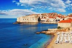 Spiaggia di Dubrovnik ad alba Immagini Stock Libere da Diritti