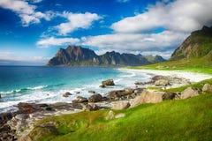 Spiaggia di Eggum in Norvegia sulle isole di Lofoten Immagine Stock Libera da Diritti