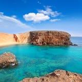 Spiaggia di EL Papagayo Playa di Lanzarote in Canarie Immagini Stock Libere da Diritti