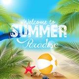 Spiaggia di estate con beach volley e le stelle marine Immagine Stock Libera da Diritti