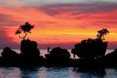 Spiaggia di estate con il bello tramonto Immagine Stock Libera da Diritti