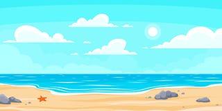 Spiaggia di estate del fumetto Spiaggia di vacanza, dell'oceano o del mare della natura di Paradise Illustrazione del fondo di ve illustrazione vettoriale