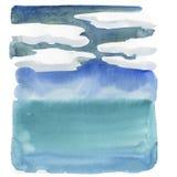 Spiaggia di estate, mare, cielo con le nuvole Illustrazione del lanscape dell'acquerello royalty illustrazione gratis