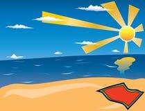 Spiaggia di estate. Vettore. Immagini Stock