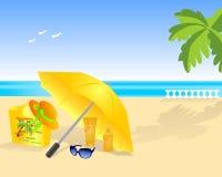 Spiaggia di estate, vettore dei cdr Fotografie Stock