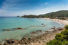Spiaggia di Fautea sulla costa Est della Corsica Immagine Stock