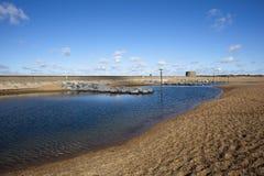 Spiaggia di Felixstowe, Suffolk, Inghilterra Immagine Stock