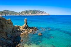Spiaggia di Figueral in Ibiza, Spagna Fotografia Stock