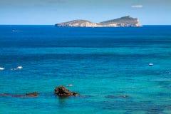 Spiaggia di Figueral in Ibiza, Spagna Immagini Stock