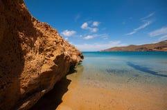 Spiaggia di Ftelia in Mykonos Fotografie Stock